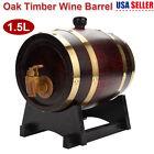 Oak Barrel 1.5L Wooden Small Barrel Whiskey Beer Keg Wine Storage Cask Stand