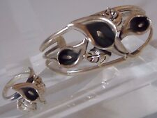 Sterling Silver Calla Lily Cuff Bracelet & Ring Demi Parure Flowers Art Deco