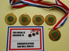 SNOOKER MEDALS MEDALS 50  MM METAL /RIBBON / CERTIFICATES/ CARDS X 5