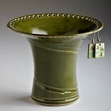 Handmade Wheel Thrown Stoneware Avocado Green Earring Holder by Barb Lund