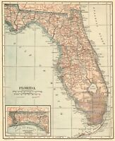 1914 Antique FLORIDA Map Vintage State Map of Florida Gallery Wall Art 8549