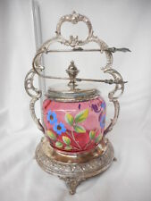 Antique Moser Cranberry Glass Handpainted Victorian Pickle Castor