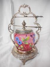 Antique Moser Cranberry Glass Handpainted Victorian Pickle Castor