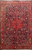 Vintage Geometric Heriz Traditional Area Rug Hand-knotted Wool Carpet 7x10 ft