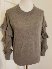 J Crew Ruffle Sleeve Sweater Size S Small Gray Wool /Acrylic