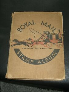 brown royal mail stamp album with world stamps