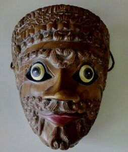 VINTAGE ROSEWOOD CARVED & HANDPAINTED LIFE SIZE FACE MASK WALL HANGING
