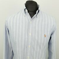 Polo Ralph Lauren Mens Vintage Shirt THICK OXFORD MEDIUM Blue Custom Fit Striped