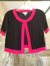 LOFT (Ann Taylor) One Button Black w/Pink Trim Cotton Cardigan, XSP