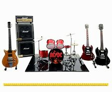 Mini live set AC/DC tribute 1:4 miniature drum kit + guitar Angus Young acdc box