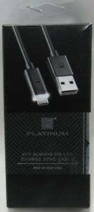 Platinum Series 4 ft.Always on LED Charge Sync Micro USB Cable - Black