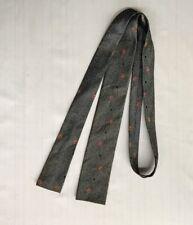 Original Vtg 50s 60s Skinny Square Neck Tie Grey Red Atomic Geometric 55�