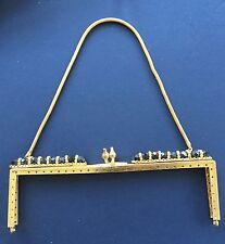 Vintage Bag Handle - Gold Square Frame / black glass beads & Gold Chain Handle