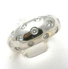 NEW 14k White yellow gold Diamond Band ring domed bezel 3/4ct WOW