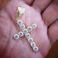 3Ct Round Cut VVS1/D Diamond Cross Pendant 14K Yellow Gold Finish Free Chain