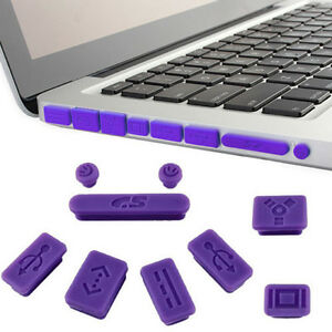 9PCS Silicone Anti Dust Plug Ports Cover Set For Macbook ( Pro ) Laptop   GMB