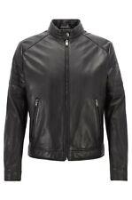 Hugo Boss Lederjacke Biker-Look Gelimi Leather Jacket 48 schwarz black NEW