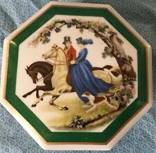 Fox Hunt Hunting Side Saddle Porcelain Trinket Dresser Box Container With Lid