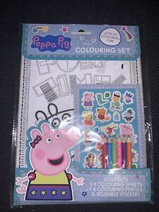 Peppa Pig Colouring Set 8x Colouring Sheets 6x Colouring Pencils And Stickers
