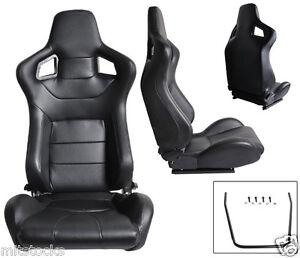2 BLACK LEATHER RACING SEATS RECLINABLE + SLIDERS VOLKSWAGEN NEW *