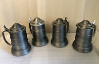 4 Tankard Cup/Beer Mug Glass Bottom Pewter Attached Lid Cover Hong Kong Vintage