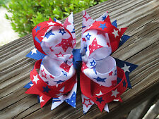 """Hair Bow a Large Boutique style 5"""" Red, White and Blue Star handmade bow USA"""