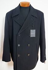NWT Authentic JOHN VARVATOS USA Black Wool Blend Double-Breasted PEACOAT Coat XL