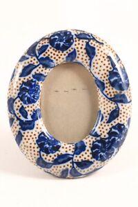 Takahashi SF Mini Photo Frame Oval Blue Brown White Japan Porcelain Ceramic