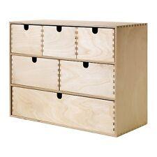 IKEA Fira MOPPE Birke Holz Aufbewahrung Mini Kommode Box 6 Schublade organisieren NEU