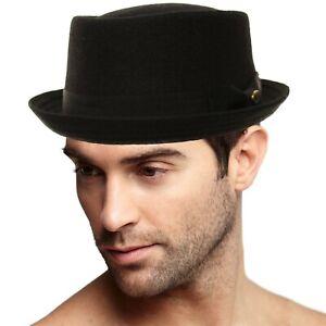 Men's Winter Wool Boater Porkpie Derby Flat Fedora Ribbon Band Hat