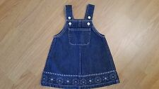 BABY GAP Denim Overall Dress Jumper Blue Jean Snowflake Pink Silver Sz 12-18 MO