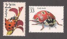 LADYBUG - LADY BEETLE - SET OF 2 U.S. POSTAGE STAMPS - MINT CONDITION
