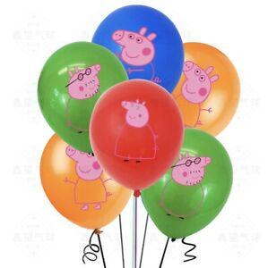 "10pcs Peppa Pig & Family 12"" Latex Balloons Kids Birthday Party Decorations"