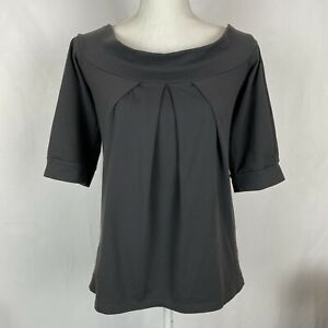 Susana Monaco Top XS Black Pleated Front Puff Sleeve Stretchy Classy Boat Neck