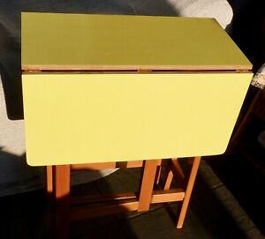 Retro 1950s double drop-leaf kitchen table with Formica top, collect nr Oxford