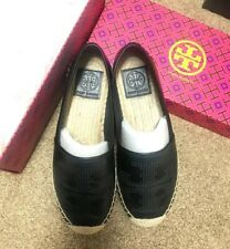 Tory Burch Perforated Logo Black Leather Flat Espadrilles