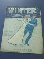 1910 Sheet Music Winter By Alfred Bryans and Richard Gumble, Ice Skating Cover