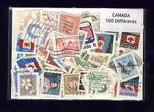 Canada 100 timbres différents oblitérés