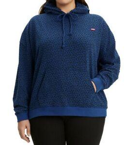 Levi's Women's Plus Size Leopard Print Pullover Hoodie, Blue/Black Size 3X