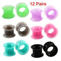 12 Pair Silicone Ear Plug Taper Tunnel Gauge Expander Stretching Kit 6g - 1""