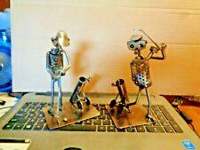 Metal Sculpture Golf Figures Statues Nuts Bolts Scrap Parts Folk Art Set of 2