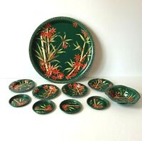 1960's Bamboo And Floral Round Metal Tray 4 Coasters 4 Ashtrays 1 Cigar Tray