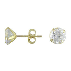 9ct Gold Round 5mm BRILLIANT Clear White CZ Studs Earrings Gift Box