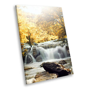 Yellow Forest Waterfall Cool Portrait Scenic Canvas Wall Art Picture Prints