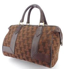 LANVIN Boston bag L mark canvas × leather Auth used L2986