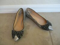"Tory Burch ""Vanessa"" 32148450 Crackled Silver And Black  Flats Women Size 6.5 M"