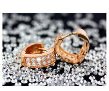 925 Sterling Silver Women Jewelry V Heart Lady Elegant Crystal Ear Stud Earrings