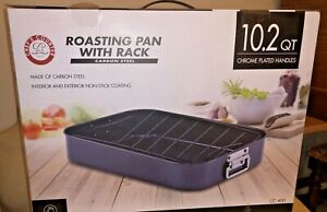 NEW! Chef's Counter ROASTING PAN with RACK 10.2 QT Non-Stick Chrome Handles