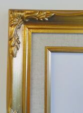 """Picture Frame- 5x7"""" Ornate Gold Color, White Linen Liner- Wood/Gesso- Glass #B8G"""