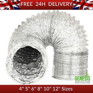 "HYDROPONIC Aluminium Foil Flexible  Ducting 4"" 5"" 6"" 8"" 10"" 12"" 5m 10m"